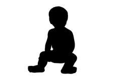 μικρό παιδί σκιαγραφιών απ&epsil Στοκ Εικόνα