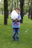 Μικρό παιδί στο πάρκο Τρώει την καραμέλα βαμβακιού στοκ φωτογραφία