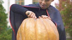 Μικρό παιδί στο χαράζοντας Jack-ο-φανάρι κοστουμιών βαμπίρ, προετοιμασίες παραμονής αποκριών φιλμ μικρού μήκους