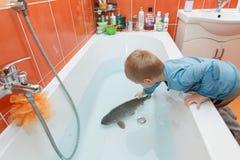 Μικρό παιδί και κυπρίνος στην μπανιέρα Στοκ Φωτογραφία