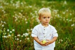 Μικρό παιδί με την πράσινη Apple στη φύση Στοκ φωτογραφία με δικαίωμα ελεύθερης χρήσης