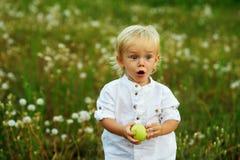 Μικρό παιδί με την πράσινη Apple στη φύση Στοκ Εικόνα