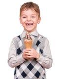 Μικρό παιδί με τον κώνο παγωτού Στοκ Εικόνα