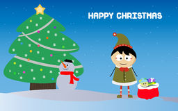 Μικρό παιδί με το σάκο Santa και χιονάνθρωπος στα Χριστούγεννα Στοκ Φωτογραφία