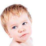 Μικρό παιδί ξανθό και παιδί αγοριών μπλε ματιών με τα διάφορα του προσώπου expres Στοκ φωτογραφία με δικαίωμα ελεύθερης χρήσης