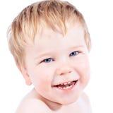 Μικρό παιδί ξανθό και παιδί αγοριών μπλε ματιών με τα διάφορα του προσώπου expres Στοκ Εικόνες