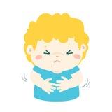 Μικρό παιδί που έχει τα κινούμενα σχέδια πόνου στομαχιών Στοκ Φωτογραφίες