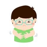 Μικρό παιδί που έχει τα κινούμενα σχέδια πόνου στομαχιών Στοκ Εικόνα