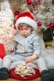 Μικρό παιδί που τρώει τα μπισκότα κάτω από το χριστουγεννιάτικο δέντρο Στοκ Εικόνα