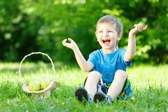Μικρό παιδί στη χλόη με το καλάθι των μήλων Στοκ Εικόνες
