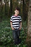 Μικρό παιδί στο δάσος στον τομέα λουλουδιών Στοκ Φωτογραφία