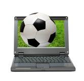 μικρό ποδόσφαιρο lap-top ποδοσ& Στοκ Φωτογραφία