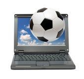 μικρό ποδόσφαιρο lap-top ποδοσ& Στοκ εικόνες με δικαίωμα ελεύθερης χρήσης