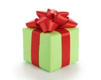 Μικρό πράσινο κιβώτιο δώρων το κόκκινο τόξο κορδελλών που απομονώνεται με στο λευκό Στοκ Εικόνες