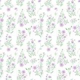 Μικρό πρότυπο λουλουδιών floral άνευ ραφής τρύγος ανασκόπησης Λεπτός γαλαζοπράσινος στο λευκό διανυσματική απεικόνιση