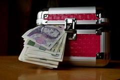 Μικρό ρόδινο strongbox με τις ασημένιες άκρες που κρατούν το παχύ πακέτο των χρημάτων (τσεχικές κορώνες, CZK) στοκ εικόνες