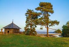 Μικρό σπίτι κάτω από τα δέντρα στοκ εικόνες
