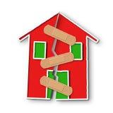 Μικρό σπίτι με μια βαθιά ρωγμή στον τοίχο - έννοια του restructu διανυσματική απεικόνιση