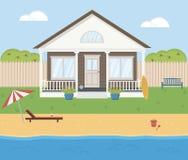 Μικρό σπίτι με μια ωκεάνια άποψη για τις καλοκαιρινές διακοπές Στοκ φωτογραφία με δικαίωμα ελεύθερης χρήσης