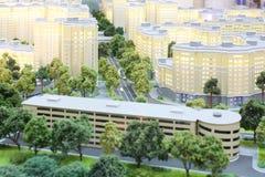 Μικρό σχεδιάγραμμα των κίτρινων κατοικημένων κτηρίων πολυόροφων κτιρίων Στοκ φωτογραφία με δικαίωμα ελεύθερης χρήσης