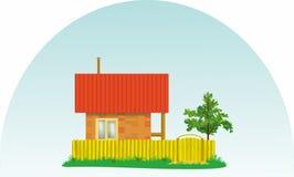 Μικρό του χωριού σπίτι με μια κόκκινη στέγη και ένα δέντρο στοκ εικόνα