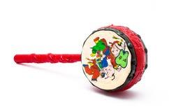 Μικρό τύμπανο, παιχνίδι παραδοσιακού κινέζικου για το παιδί, που απομονώνεται Στοκ Φωτογραφίες