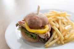 Μικρό burger κοτόπουλου με τα τηγανητά Στοκ Εικόνα