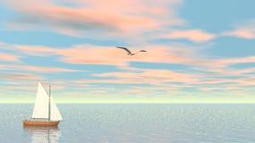 Μικρό sailboat - τρισδιάστατο δώστε απόθεμα βίντεο