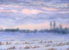 μικρό watercolor πάρκων τοπίων γεφυρών φθινοπώρου Ηλιοβασίλεμα πέρα από τη χειμερινή στέπα διανυσματική απεικόνιση