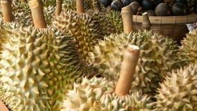Μικτά τροπικά γλυκά juicy φρούτα εποχής, τοπική αγορά της Ταϊλάνδης Μεγάλο Monthong Durian και Mangosteen φιλμ μικρού μήκους