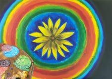 Μικτά χρώματα στη χειροποίητη ξύλινη παλέτα Στοκ φωτογραφίες με δικαίωμα ελεύθερης χρήσης