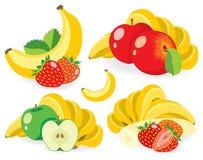 Μικτές διανυσματικές απεικονίσεις φρούτων Στοκ εικόνες με δικαίωμα ελεύθερης χρήσης