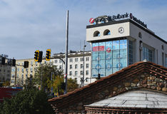 Μικτές μορφές της αρχιτεκτονικής στο κέντρο πόλεων της Sofia Στοκ Εικόνες