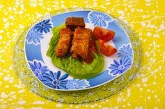 μικτές ντομάτες σάλτσας μαρουλιού κρέας Στοκ Φωτογραφία