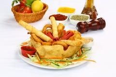 Μικτές τηγανιτές πατάτες, λουρίδες κοτόπουλου και boregi Sigara στοκ εικόνα με δικαίωμα ελεύθερης χρήσης