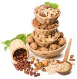 μικτή σειρά καρυδιών τροφίμων πλαίσια Στοκ εικόνα με δικαίωμα ελεύθερης χρήσης