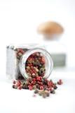 Μικτοί σπόροι πιπεριών διάφορου κόκκινου μαύρου πράσινου χρωμάτων Στοκ φωτογραφίες με δικαίωμα ελεύθερης χρήσης
