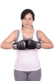 Μικτός θηλυκό μαχητής πολεμικών τεχνών που φορά MMA Στοκ Εικόνες