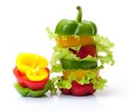 Μικτό πιπέρι κουδουνιών με το μαρούλι Στοκ εικόνες με δικαίωμα ελεύθερης χρήσης