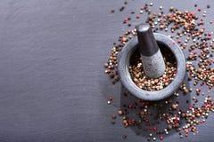 Μικτό πιπέρι στο κονίαμα Στοκ Εικόνες