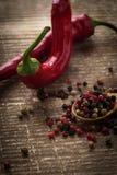 Μικτό πιπέρι στο ξύλινο υπόβαθρο Στοκ Εικόνες