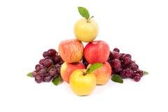 Μικτό σύνολο φρέσκου ακατέργαστου ώριμου σταφυλιού μήλων φρούτων στο απομονωμένο λευκό Στοκ Εικόνα