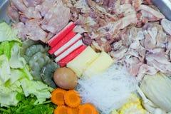 Μικτό φρέσκο κρέας και φυτική εκλεκτική εστίαση Στοκ Εικόνες