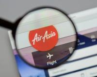 Μιλάνο, Ιταλία - 10 Αυγούστου 2017: Αρχική σελίδα ιστοχώρου της Ασίας αέρα Είναι Στοκ Φωτογραφία
