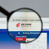 Μιλάνο, Ιταλία - 10 Αυγούστου 2017: Αρχική σελίδα ιστοχώρου της Air China Αυτό ι Στοκ Φωτογραφίες