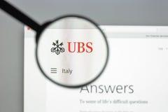 Μιλάνο, Ιταλία - 10 Αυγούστου 2017: Αρχική σελίδα ιστοχώρου τραπεζών UBS Είναι Στοκ Εικόνες