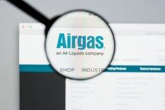 Μιλάνο, Ιταλία - 10 Αυγούστου 2017: Αρχική σελίδα ιστοχώρου Airgas Είναι τ Στοκ Εικόνα