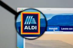 Μιλάνο, Ιταλία - 10 Αυγούστου 2017: Αρχική σελίδα ιστοχώρου ALDI Είναι Στοκ Εικόνα