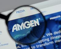 Μιλάνο, Ιταλία - 10 Αυγούστου 2017: αρχική σελίδα ιστοχώρου amgen Είναι Στοκ Εικόνα