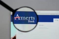 Μιλάνο, Ιταλία - 10 Αυγούστου 2017: Αρχική σελίδα ιστοχώρου Bancorp Ameris Στοκ Εικόνα